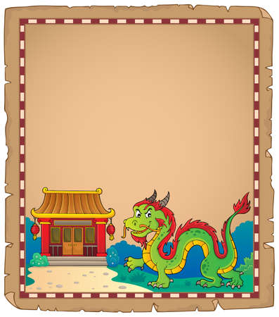 Chinese dragon theme parchment 1. vector illustration.