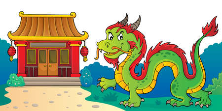 Chinese dragon theme image 3. vector illustration.