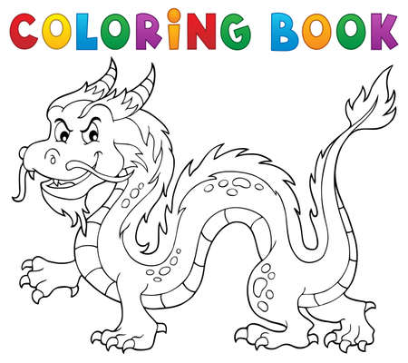 Coloring book Chinese dragon theme 1. vector illustration.
