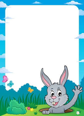 Frame with lurking Easter bunny theme 1 - eps10 vector illustration.