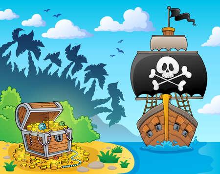 Bild mit Piratenschiff Thema 3 - eps10-Vektor-Illustration.