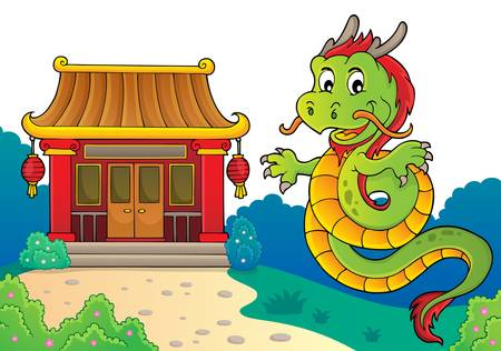 Chinese dragon topic image 3. vector illustration.