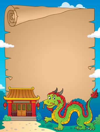 Chinese dragon theme parchment 2. vector illustration.