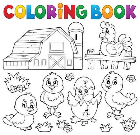 Coloring book chickens and hen
