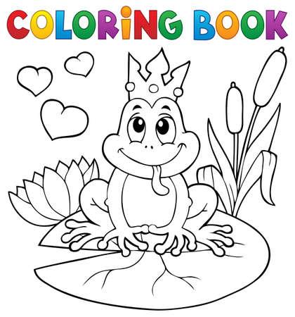 Grenouille de livre de coloriage avec la couronne - illustration vectorielle eps10.