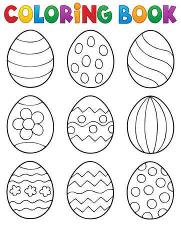 Coloring book Easter eggs theme 2 - eps10 vector illustration. Ilustracja