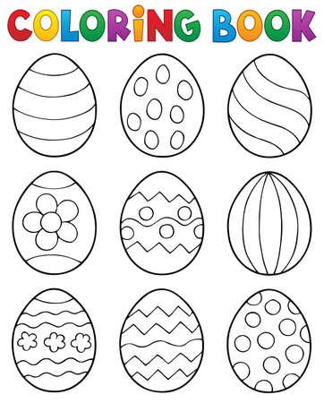 Libro para colorear Huevos de Pascua tema 2 - Ilustración de vector de eps10. Ilustración de vector