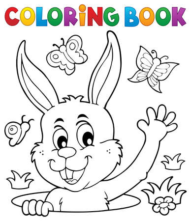Coloring book lurking Easter bunny - eps10 vector illustration.