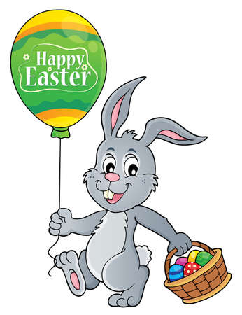 Easter rabbit with balloon image 1 - eps10 vector illustration.