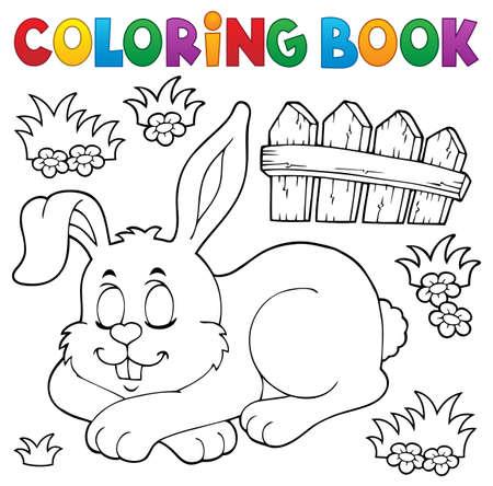 Livre de coloriage thème lapin endormi 1 - illustration vectorielle eps10.