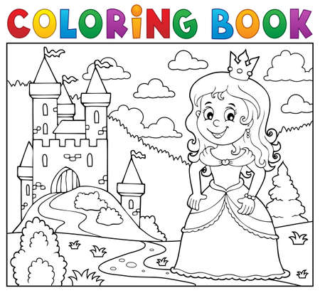 Coloring book princess   vector illustration.