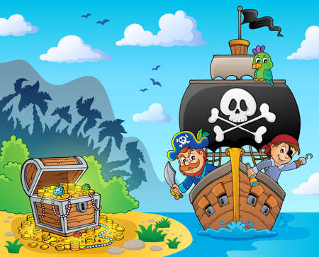 Image with pirate vessel theme 6 - eps10 vector illustration.