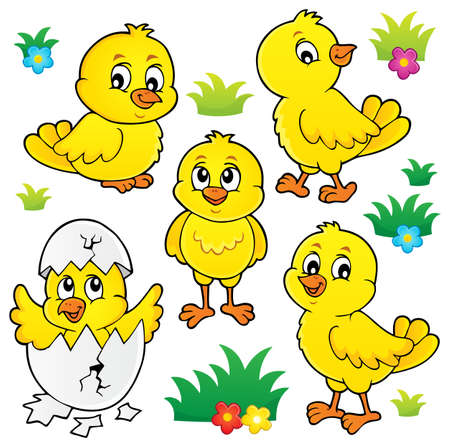 Cute chickens topic set 1 - eps10 vector illustration.