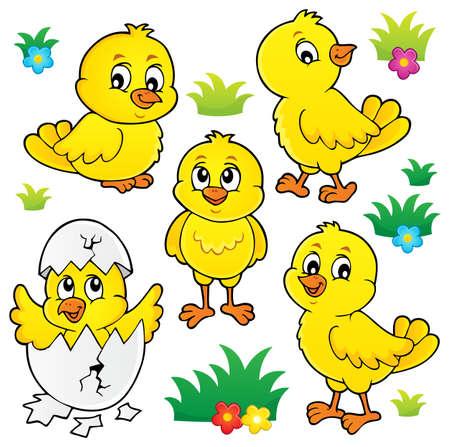 Ensemble de sujets de poulets mignons 1 - illustration vectorielle eps10.