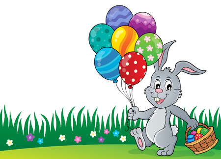 Easter bunny with balloons image 2 - eps10 vector illustration.