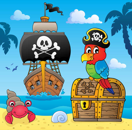 Pirate parrot on treasure chest topic 4 - eps10 vector illustration. 矢量图像