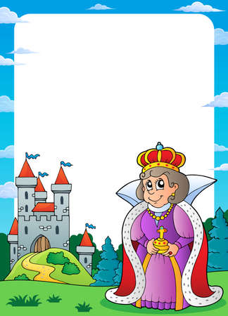 Queen and castle theme  vector illustration.
