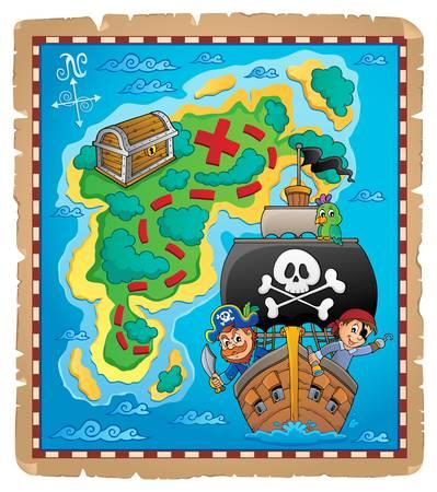 Pirate map theme image 6 - eps10 vector illustration. Vektoros illusztráció