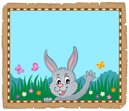 Parchment with lurking Easter bunny 5 - eps10 vector illustration. Illustration