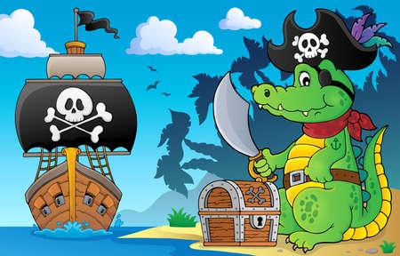 Pirate crocodile theme 5 - eps10 vector illustration.