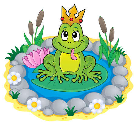 Frog with crown theme image 3 - eps10 vector illustration.