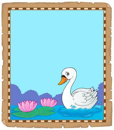 Swan theme parchment 1 - eps10 vector illustration.