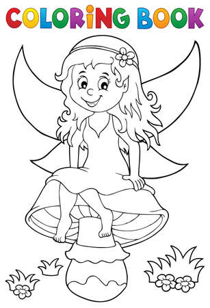 Coloring book fairy sitting on mushroom - eps10 vector illustration.