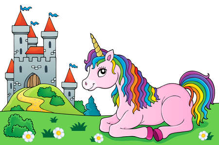 Lying unicorn theme vector illustration.