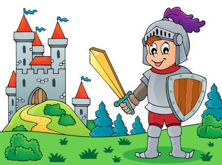 Knight and castle theme  vector illustration.