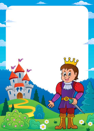Prince and castle theme   vector illustration.