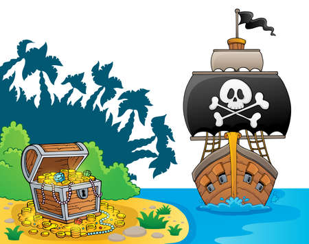 Image with pirate vessel theme 7 - eps10 vector illustration.