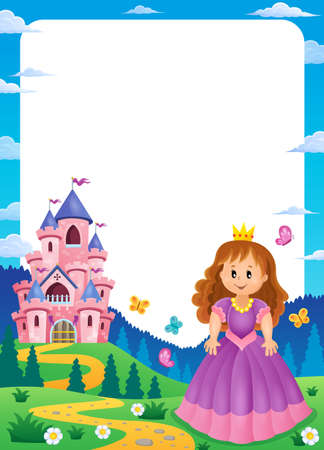 Princess and castle composition Illustration
