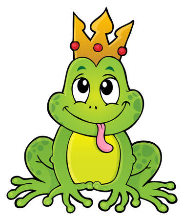 Frog with crown theme image 1 - eps10 vector illustration.