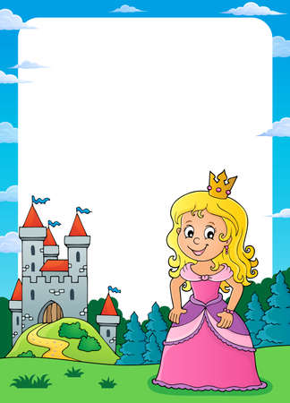 Princess and castle  vector illustration. Illustration