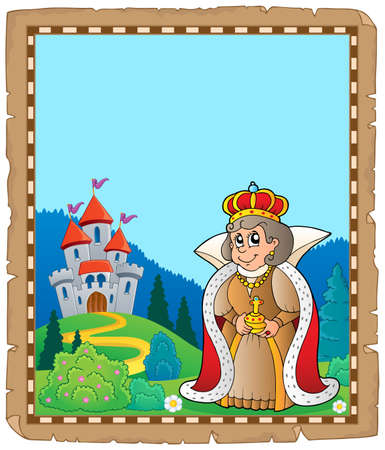 Parchment with queen near castle vector illustration. Illustration