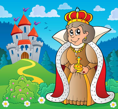Happy queen near castle  vector illustration. Ilustração