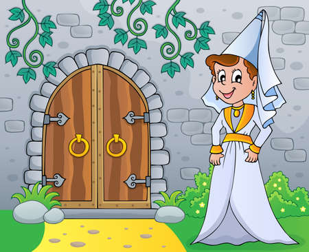 Medieval lady by old door theme vector illustration.
