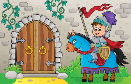 Knight on horse by old door theme   vector illustration.