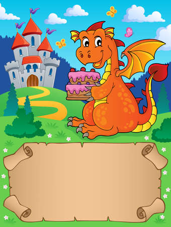 Small parchment and dragon holding cake  vector illustration.