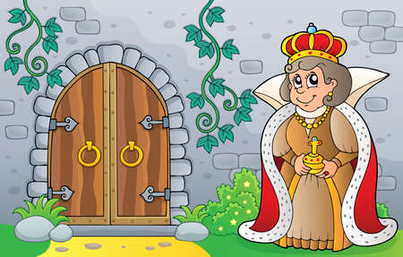 Queen by old door theme vector illustration. Illustration