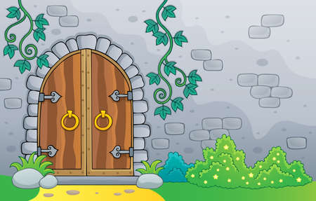 Old door theme image vector illustration.