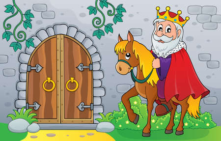 King on horse by old door theme image vector illustration. Illustration