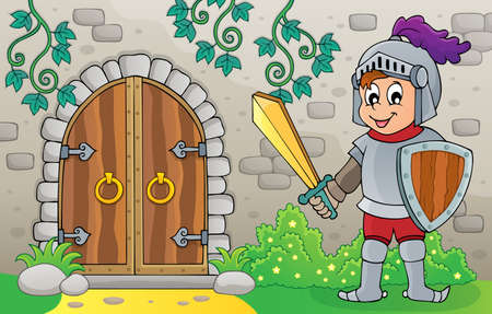 Knight by old door theme  vector illustration.