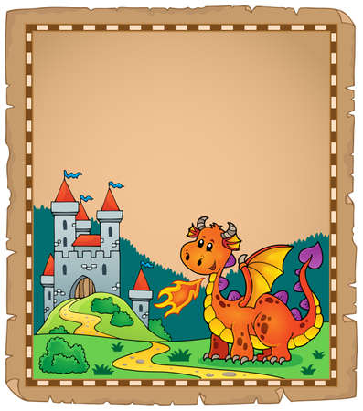 Dragon and castle theme   vector illustration.