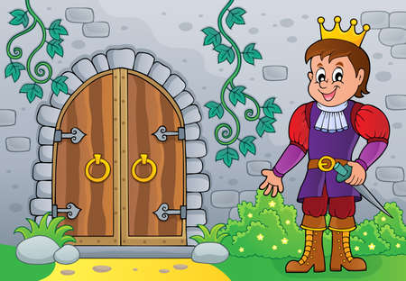 Prince by old door theme  vector illustration.