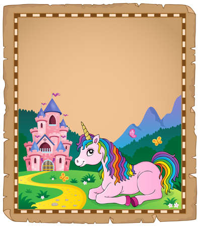Parchment with lying unicorn  vector illustration. Illustration