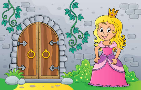 Princess by old door theme  vector illustration. Illustration