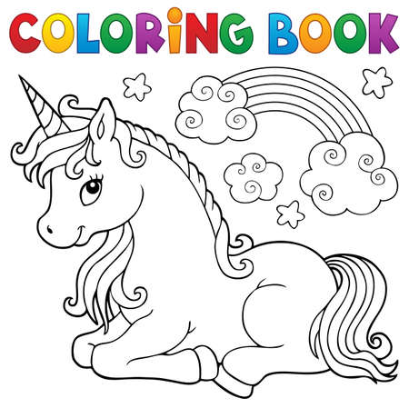 Coloring book stylized unicorn theme 1 - eps10 vector illustration. Ilustração