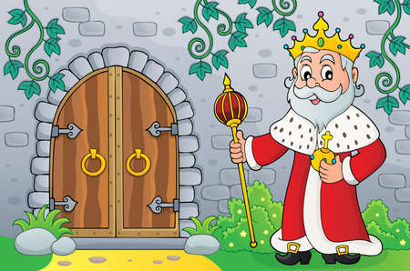 King by old door vector illustration.