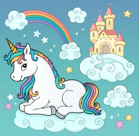 Unicorn and objects vector illustration. Иллюстрация